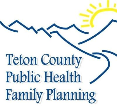 Teton County Family Planning Logo with sun, mountains and road.
