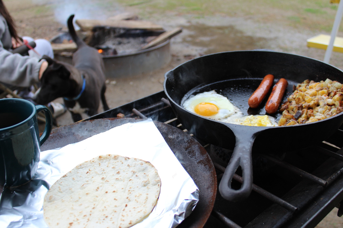 Camp breakfast with dog