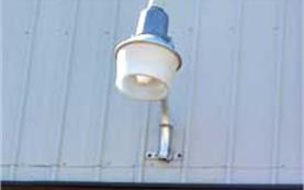 Outside light attached to a building